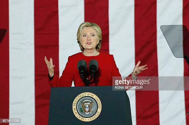 Democratic presidential nominee Hillary Clinton addresses a campaign rally on Independece Mall November 7 2016 in Philadelphia About 40000 people...