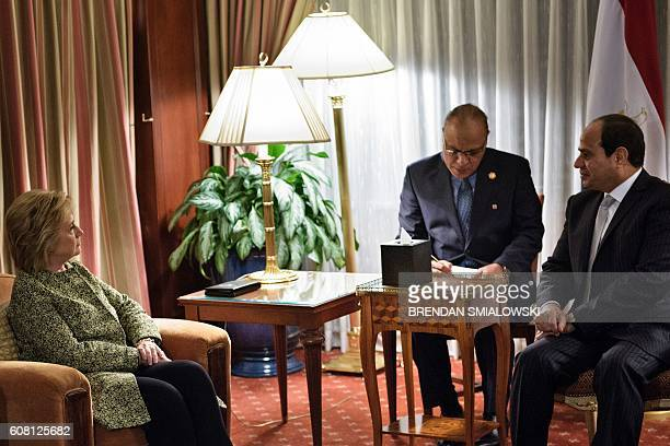 Democratic presidential nominee Hillary Clinton and Egyptian President Abdel Fattah elSisi speak through an interpreter before a meeting at the...