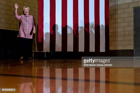 Democratic presidential nominee Hillary Clinton arrives for a rally at University of North Carolina at Greensboro September 15 2016 in Greensboro...