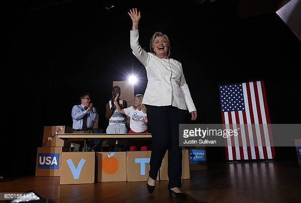 Democratic presidential nominee Hillary Clinton greets supporters during a campaign rally at Sanford Civic Center on November 1 2016 in Sanford...