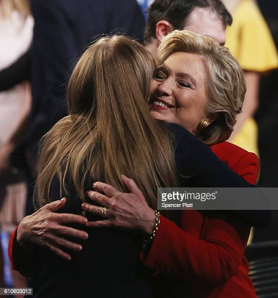 Democratic presidential nominee Hillary Clinton hugs daughter Chelsea Clinton after the Presidential Debate with Republican presidential nominee...