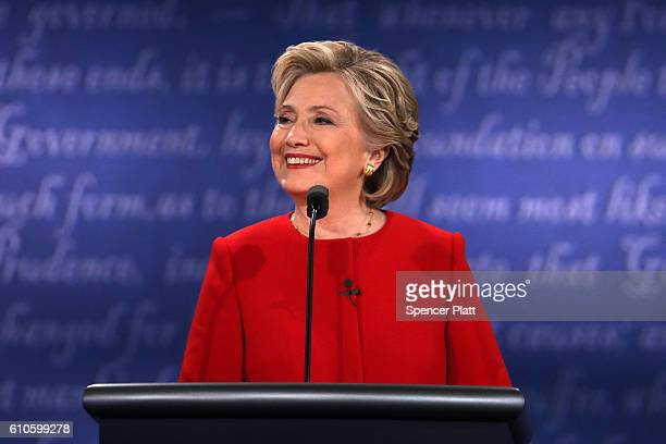 Democratic presidential nominee Hillary Clinton smiles during the Presidential Debate at Hofstra University on September 26 2016 in Hempstead New...