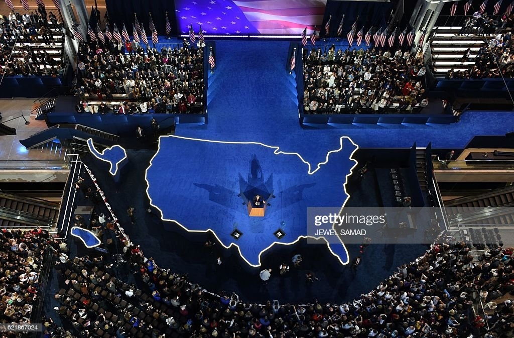 TOPSHOT - Democratic presidential nominee Hillary Clinton's campaign manger John Podesta speaks during election night at the Jacob K. Javits Convention Center in New York on November 9, 2016. / AFP / Jewel SAMAD