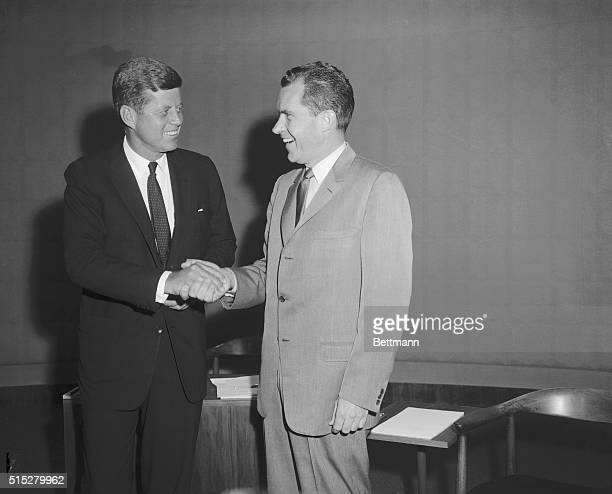 Democratic presidential nominee John F Kennedy and Vice President Richard M Nixon meet here for a debate before television cameras