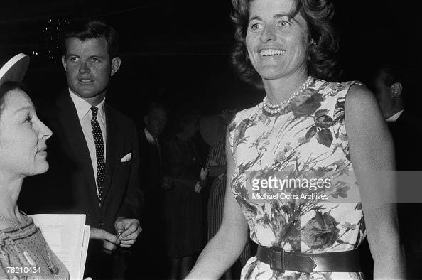 Democratic presidential nominee John F Kennedy's siblings Ted Kennedy and Eunice Kennedy Shriver campaign for their brother in1960