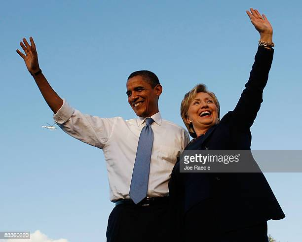 Democratic presidential nominee US Sen Barack Obama and Sen Hillary Clinton attend a campaign rally together at Amway Arena October 20 2008 in...