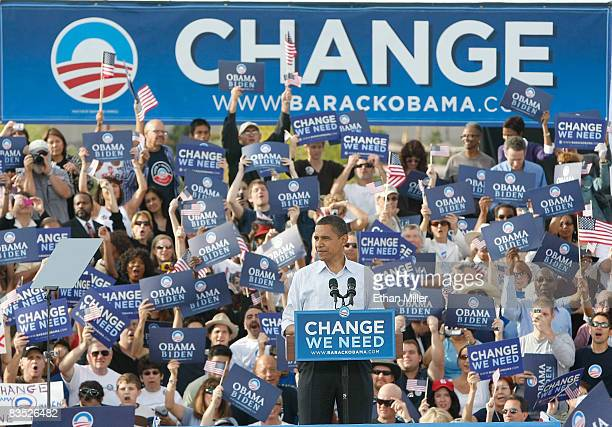 Democratic presidential nominee US Sen Barack Obama speaks during a campaign rally at Coronado High School November 1 2008 in Henderson Nevada Obama...