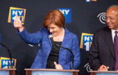 Democratic primary candidate for Mayor of New York City Christine C Quinn reacts during the first debate at the Town Hall on August 21 2013 in New...