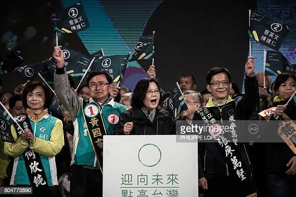 Democratic Progressive Party presidential candidate Tsai Ingwen addresses her supporters during a rally in Taichung some 140 km south west of Taipei...