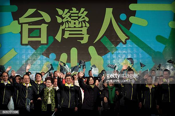 Democratic Progressive Party presidential candidate Tsai Ingwen celebrates her victory inTaipei on January 16 2016 Voters in Taiwan elected a...