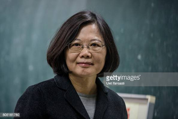 Democratic Progressive Party presidential candidate Tsai Ingwen poses to journalist after casting her ballot at a polling station on January 16 2016...