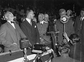 Democratic rally at Olympic Stadium Franklin DRoosevelt his son James Senator William McAdoo Jim Farley and Will Rogers