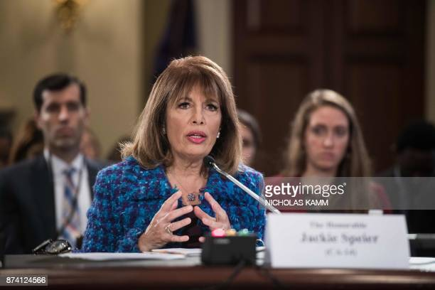 US Democratic Representative from California Jackie Speier speaks during a House Administration Committee hearing on 'Preventing Sexual Harassment in...