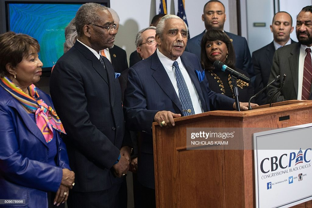 US Democratic Representative from Charles Rangel speaks as the Congressional Black Caucus Political Action Committee (CBCPAC) announces its endorsement of Democratic presidential candidate Hillary Clinton for the November election in Washington, DC, on February 11, 2016. / AFP / Nicholas Kamm