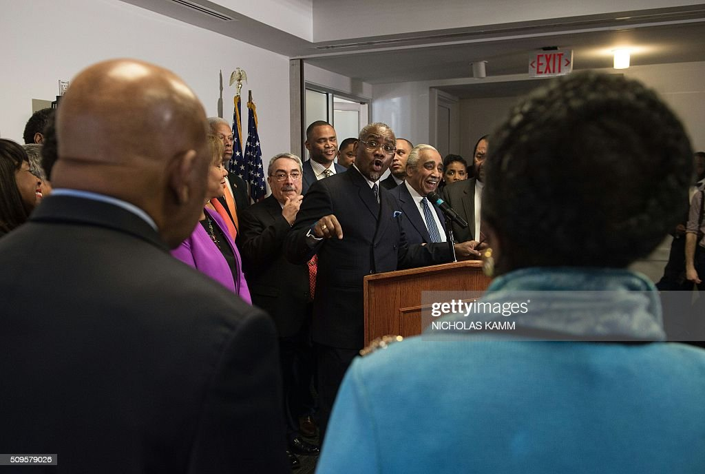 US Democratic Representative from New York and chairman of the Congressional Black Caucus Political Action Committee (CBCPAC) Gregory Meeks announces the CBCPAC's endorsement of Democratic presidential candidate Hillary Clinton for the November election, in Washington, DC, on February 11, 2016. / AFP / Nicholas Kamm