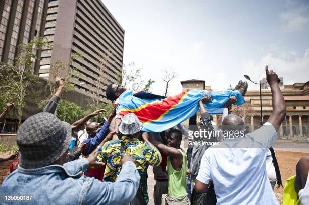 Democratic Republic of Congo nationals demonstrate outside Luthuli House on December 5 2011 in Johannesburg South Africa The protest claims that...