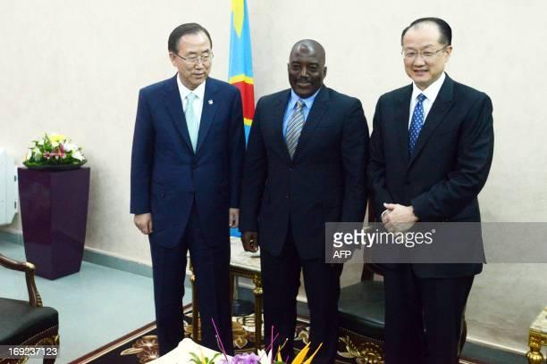 Democratic Republic of Congo President Joseph Kabila poses with UN secretary general Ban KiMoon and World Bank President Jim Yong Kim at the Nation...