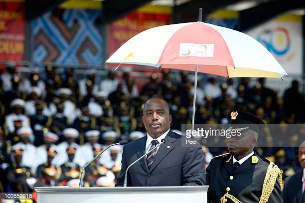 Democratic Republic of Congo President Joseph Kabila speaks at the 50th anniversary parade marking the independence of the Democratic Republic of...