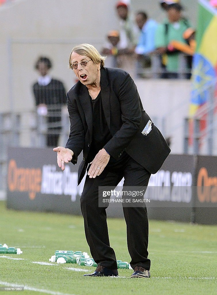 Democratic Republic of Congo's coach Claude Le Roy reacts during their 2013 Africa Cup of Nations football match against Ghana at Nelson Mandela Bay Stadium in Port Elizabeth on January 20, 2013.