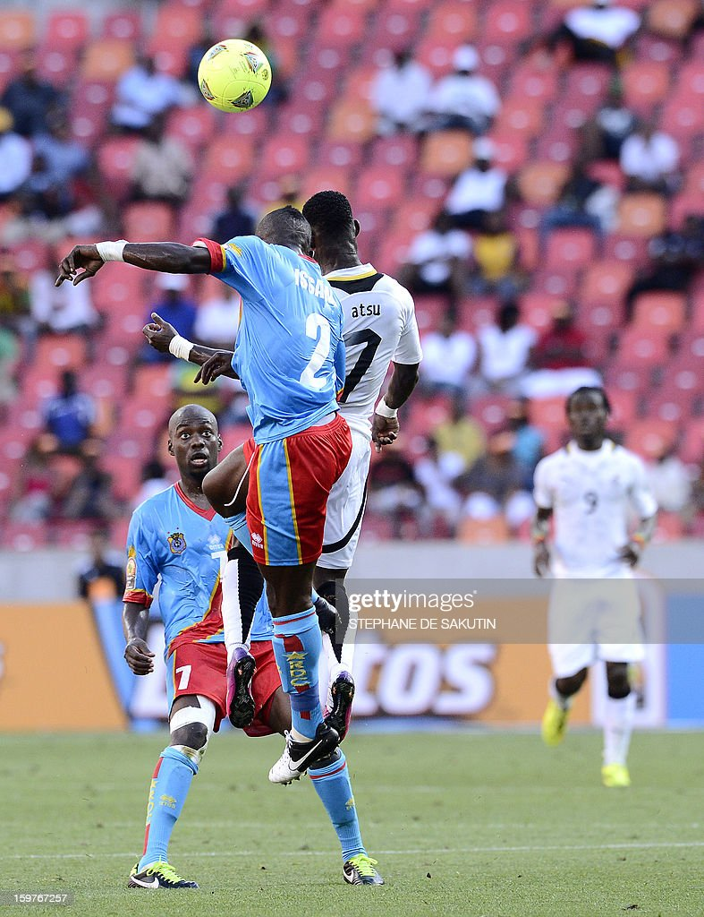 Democratic Republic of Congo's defender Mpeko Issama (Top L) and Ghana's midfielder Christian Atsu (Top R) jump for the ball as Democratic Republic of Congo's midfielder Youssouf Mulumbu (L) watches during their 2013 African Cup of Nations football match at the Nelson Mandela Bay Stadium in Port Elizabeth on January 20, 2013.