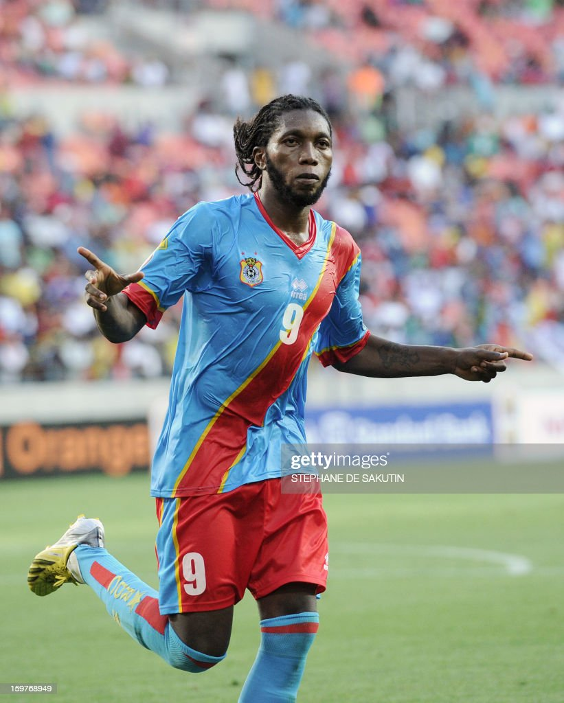 Democratic Republic of Congo's forward Dieudonne Mbokani celebrates after scoring a goal against Ghana during their 2013 African Cup of Nations football match at the Nelson Mandela Bay Stadium in Port Elizabeth on January 20, 2013.