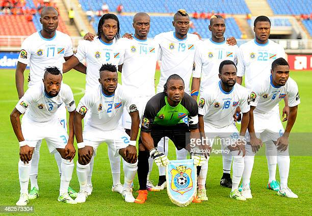 Democratic Republic of the Congo football players are seen prior to the 2015 African Cup of Nations quarter final football match between Congo and...