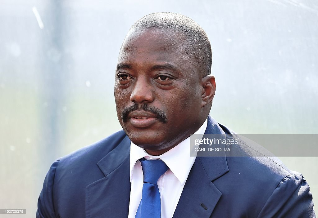 Democratic Republic of the Congo <a gi-track='captionPersonalityLinkClicked' href=/galleries/search?phrase=Joseph+Kabila&family=editorial&specificpeople=467567 ng-click='$event.stopPropagation()'>Joseph Kabila</a> attends a training session of his country's football team in Bata on February 3, 2015. RD Congo will face Ivory Coast in a semi-final African Cup of Nations match in Bata on February 4, 2015.