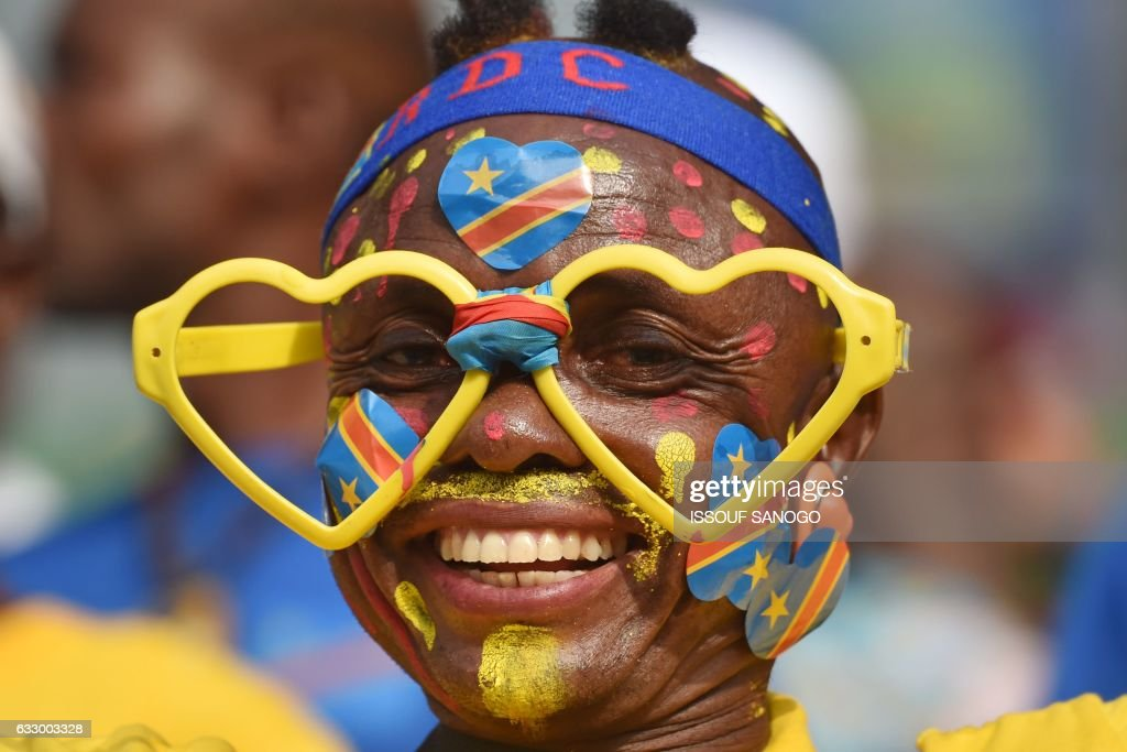 A Democratic Republic of the Congo supporter smiles ahead of the 2017 Africa Cup of Nations quarter-final football match between DR Congo and Ghana in Oyem on January 29, 2017. /