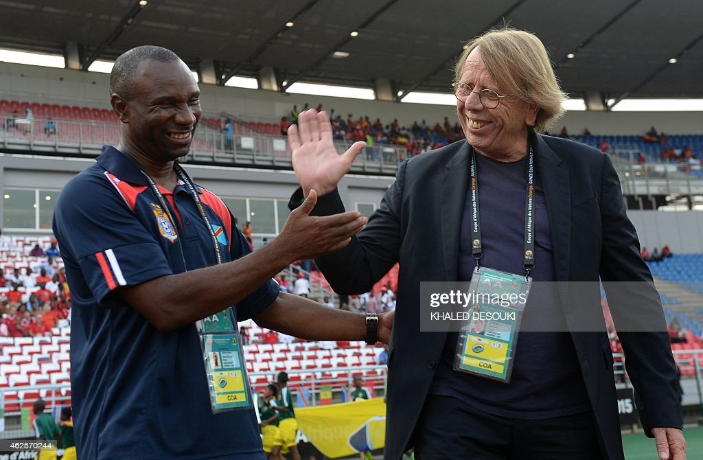 Democratic Republic of the Congo's coach Florent Ibenge (L) shakes hands with Congo's coach <a gi-track='captionPersonalityLinkClicked' href=/galleries/search?phrase=Claude+Le+Roy&family=editorial&specificpeople=790794 ng-click='$event.stopPropagation()'>Claude Le Roy</a> prior to the 2015 African Cup of Nations quarter final football match between Congo and Republic of the Congo in Bata, on January 31, 2015. AFP PHOTO / KHALED DESOUKI