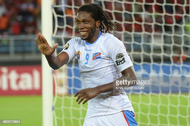 Democratic Republic of the Congo's forward Dieudonne Mbokani celebrates after scoring a goal during the 2015 African Cup of Nations quarter final...