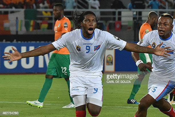 Democratic Republic of the Congo's forward Dieudonne Mbokani celebrates after scoring a goal during the 2015 African Cup of Nations semifinal...