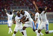 Democratic Republic of the Congo's forward Jeremy Bokila celebrates after scoring a goal during the 2015 African Cup of Nations quarter final...