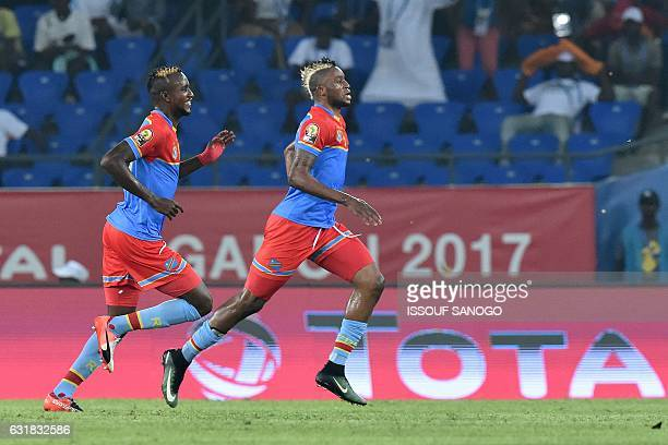 Democratic Republic of the Congo's forward Junior Kabananga celebrates with Democratic Republic of the Congo's midfielder Merveille Bokadi after...