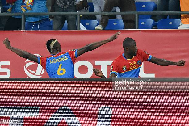 Democratic Republic of the Congo's forward Junior Kabananga celebrates with Democratic Republic of the Congo's defender Chancel Mbemba after scoring...