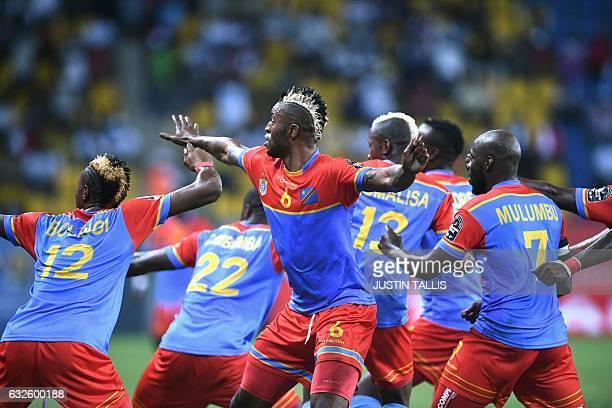TOPSHOT Democratic Republic of the Congo's forward Junior Kabananga celebrates with teammates after scoring a goal during the 2017 Africa Cup of...