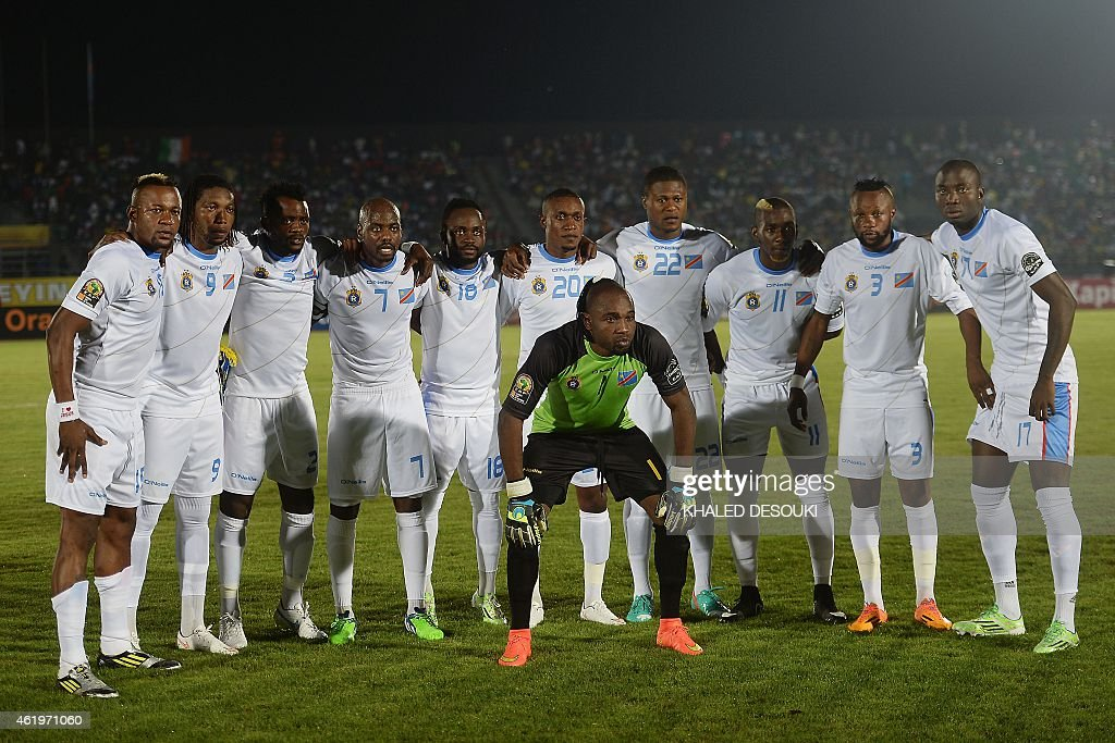 Democratic Republic of the Congo's goalkeeper Robert Kidiaba Muteba poses in front of teammates (back L-R) defender Joel Kimwaki, forward Dieudonne Mbokani, midfielder Nelson Munganga Omba, midfielder Youssouf Mulumbu, forward Cedrick Mabwati, midfielder Mabidi Lema, defender Chancel Mbemba,forward <a gi-track='captionPersonalityLinkClicked' href=/galleries/search?phrase=Yannick+Bolasie&family=editorial&specificpeople=6135147 ng-click='$event.stopPropagation()'>Yannick Bolasie</a>, Jean Kasusula, defender <a gi-track='captionPersonalityLinkClicked' href=/galleries/search?phrase=Cedric+Mongongu&family=editorial&specificpeople=4305033 ng-click='$event.stopPropagation()'>Cedric Mongongu</a> ahead of the 2015 African Cup of Nations group B football match between Cape Verde and Democratic Republic of the Congo in Ebebiyin on January 22, 2015.