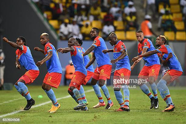 TOPSHOT Democratic Republic of the Congo's players celebrate their third goal during the 2017 Africa Cup of Nations group C football match between...