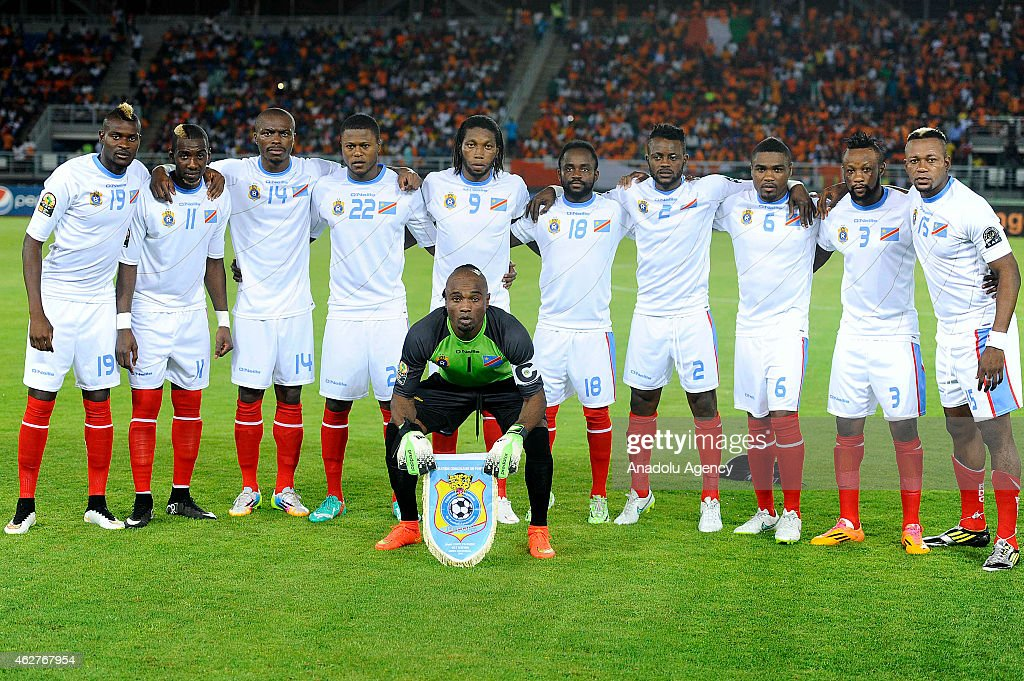 Democratic Republic of the Congo's players (From L-R) Jeremy Bokila, <a gi-track='captionPersonalityLinkClicked' href=/galleries/search?phrase=Yannick+Bolasie&family=editorial&specificpeople=6135147 ng-click='$event.stopPropagation()'>Yannick Bolasie</a>, <a gi-track='captionPersonalityLinkClicked' href=/galleries/search?phrase=Gabriel+Zakuani&family=editorial&specificpeople=639100 ng-click='$event.stopPropagation()'>Gabriel Zakuani</a>, Chancel Mbemba, Dieudonne Mbokani, Cedrick Mabwati, Issama Mpeko, Cedric Makiadi, Jean Kasusula, Joel Kimwaki and goalkeeper Robert Kidiaba Muteba (front) pose for a team photo ahead the 2015 African Cup of Nations semi-final football match between Democratic Republic of the Congo and Ivory Coast at the Bata Stadium on February 04, 2015 in Bata, Equatorial Guinea.