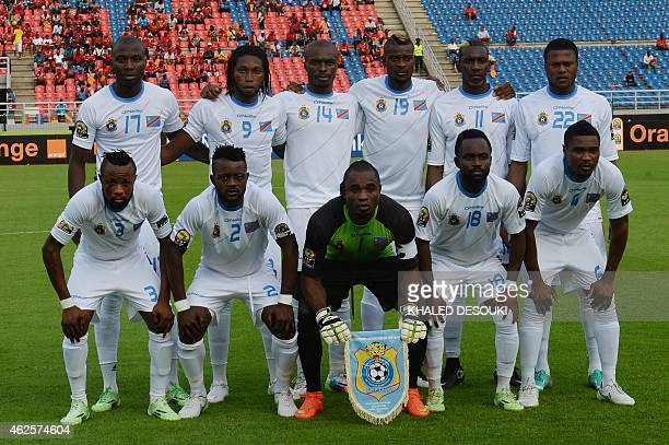 Democratic Republic of the Congo's players line up ahead of the 2015 African Cup of Nations quarter final football match between Congo and Republic...