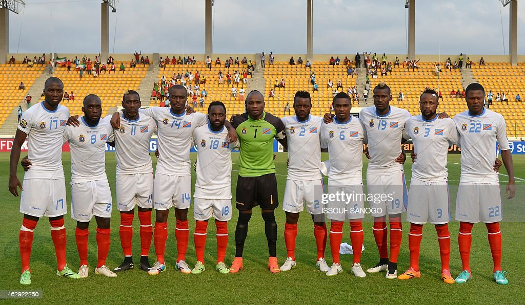 Democratic Republic of the Congo's squad (L-R) defender <a gi-track='captionPersonalityLinkClicked' href=/galleries/search?phrase=Cedric+Mongongu&family=editorial&specificpeople=4305033 ng-click='$event.stopPropagation()'>Cedric Mongongu</a>, midfielder Herve Kage, forward <a gi-track='captionPersonalityLinkClicked' href=/galleries/search?phrase=Yannick+Bolasie&family=editorial&specificpeople=6135147 ng-click='$event.stopPropagation()'>Yannick Bolasie</a>, defender <a gi-track='captionPersonalityLinkClicked' href=/galleries/search?phrase=Gabriel+Zakuani&family=editorial&specificpeople=639100 ng-click='$event.stopPropagation()'>Gabriel Zakuani</a>, forward Cedrick Mabwati, goalkeeper Robert Kidiaba Muteba, defender Issama Mpeko, midfielder Cedric Makiadi, forward Jeremy Bokila, defender Jean Kasusula and defender Chancel Mbemba pose ahead of the 2015 African Cup of Nations third place play-off football match between Democratic Republic of the Congo and Equatorial Guinea in Malabo on February 7, 2015. AFP PHOTO / ISSOUF SANOGO