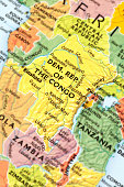 Map of Democratic Republic Of The Congo. A detail from the World Map provided by RAND McNALLY.