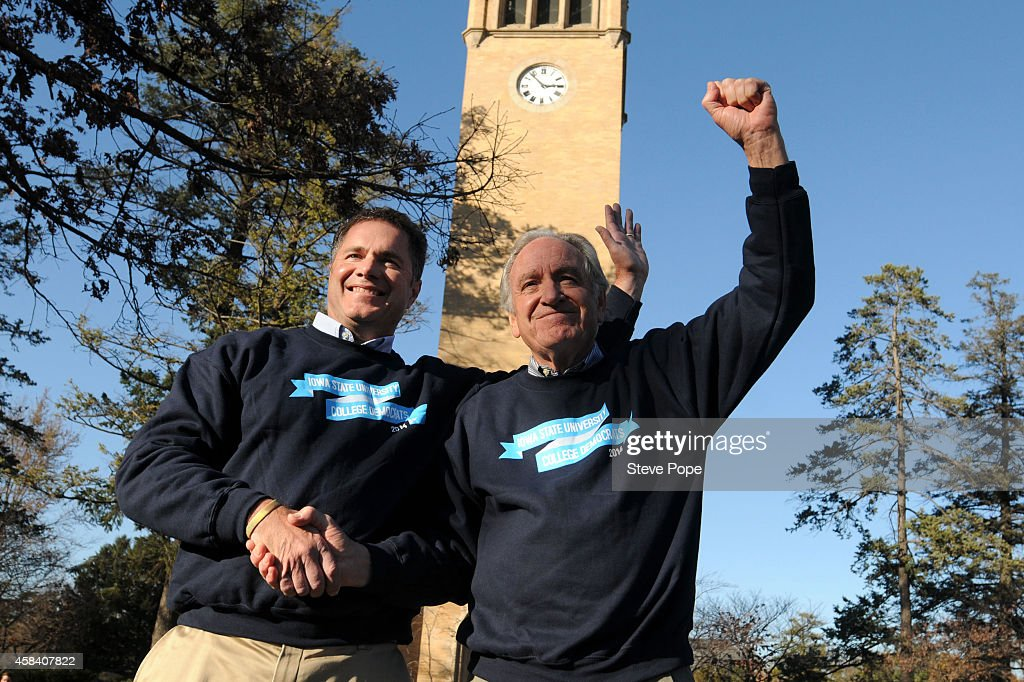 Democratic Senate Candidate <a gi-track='captionPersonalityLinkClicked' href=/galleries/search?phrase=Bruce+Braley&family=editorial&specificpeople=4841451 ng-click='$event.stopPropagation()'>Bruce Braley</a>, left, and U.S. Senator <a gi-track='captionPersonalityLinkClicked' href=/galleries/search?phrase=Tom+Harkin&family=editorial&specificpeople=211373 ng-click='$event.stopPropagation()'>Tom Harkin</a> (D-IA) unite during a last minute pitch to get out the vote on the Campus of Iowa State Univeristy November 4, 2014 in Ames, Iowa. Democratic Senate Candidate <a gi-track='captionPersonalityLinkClicked' href=/galleries/search?phrase=Bruce+Braley&family=editorial&specificpeople=4841451 ng-click='$event.stopPropagation()'>Bruce Braley</a> is in a tight race against Republican Senate Candidate Joni Ernst to fill the seat held by Harkin since 1985.