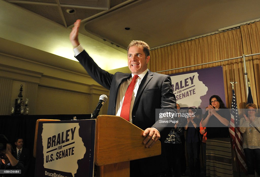 Democratic Senate candidate <a gi-track='captionPersonalityLinkClicked' href=/galleries/search?phrase=Bruce+Braley&family=editorial&specificpeople=4841451 ng-click='$event.stopPropagation()'>Bruce Braley</a> thanks supporters during his concession speech November 4, 2014 in Des Moines, Iowa. Braley was defeated by Republican challenger Joni Ernst to fill the seat held by retiring U.S. Sen. Tom Harkin.