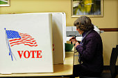 Democratic Senate Candidate Bruce Braley's mother Marcia Braley casts her ballot at the Community Center November 4 2014 in Braley's hometown of...