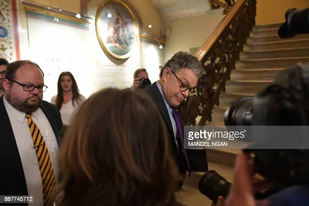 Democratic Senator Al Franken under mounting pressure from within his own camp over multiple allegations of sexual misconduct arrives to make an...
