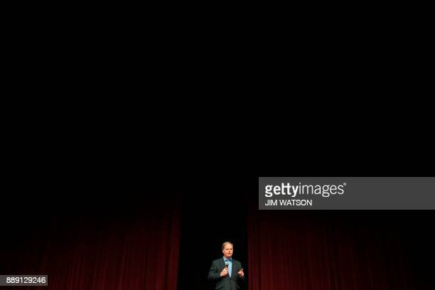 Democratic Senatorial candidate Doug Jones speaks during a rally in Birmingham Alabama on December 9 2017 The Alabama race which is being held to...