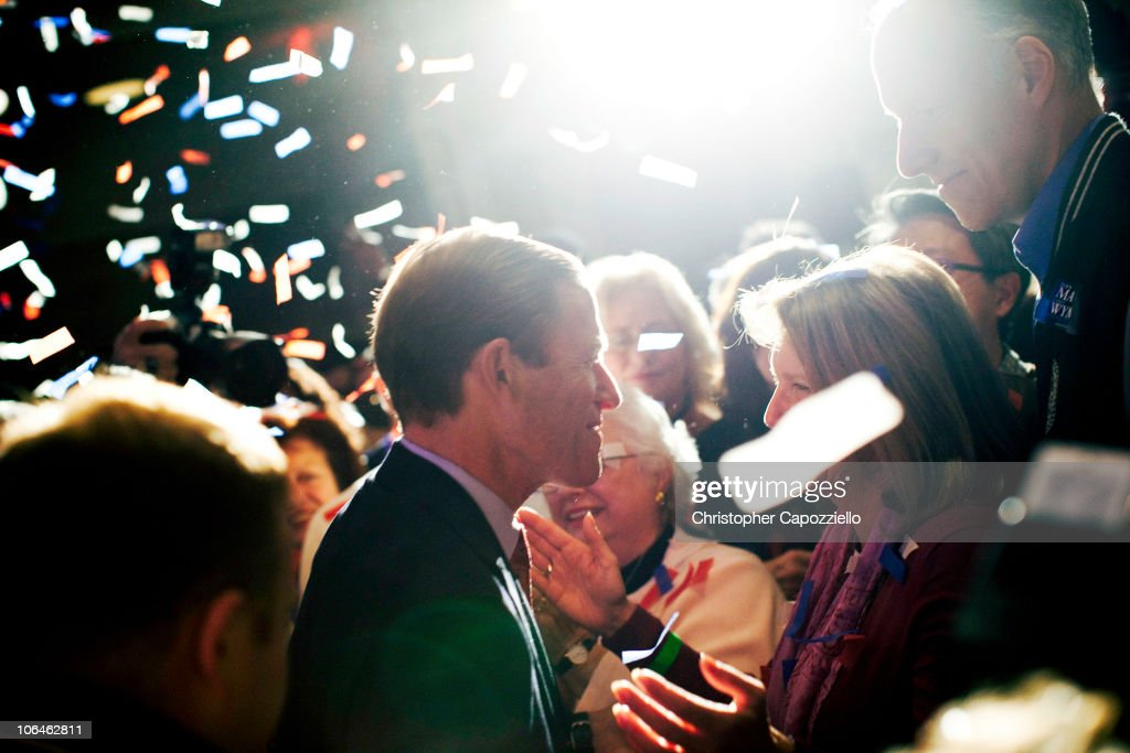 Democratic senatorial candidate <a gi-track='captionPersonalityLinkClicked' href=/galleries/search?phrase=Richard+Blumenthal&family=editorial&specificpeople=1036916 ng-click='$event.stopPropagation()'>Richard Blumenthal</a> greets supporters after he announced his victory over Republican candidate Linda McMahon during an election night event at the Hartford Hilton November 2, 2010 in Hartford, Connecticut. Democratic U.S. Senate candidate <a gi-track='captionPersonalityLinkClicked' href=/galleries/search?phrase=Richard+Blumenthal&family=editorial&specificpeople=1036916 ng-click='$event.stopPropagation()'>Richard Blumenthal</a> will succeed the retiring U.S. Sen. Christopher Dodd (D-CT).