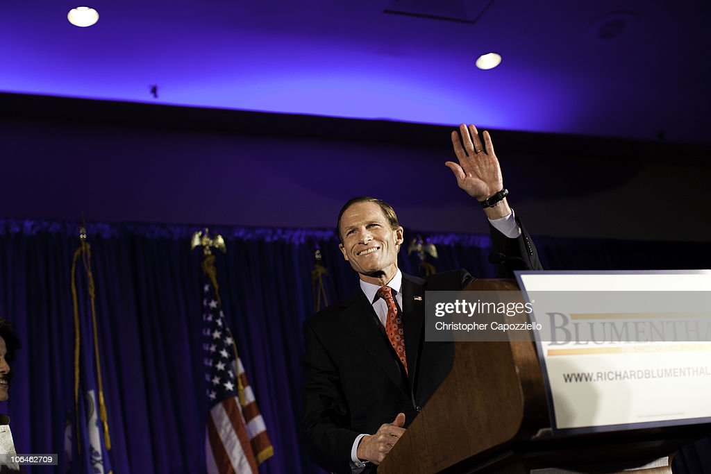 Democratic senatorial candidate <a gi-track='captionPersonalityLinkClicked' href=/galleries/search?phrase=Richard+Blumenthal&family=editorial&specificpeople=1036916 ng-click='$event.stopPropagation()'>Richard Blumenthal</a> waves as he announces his victory over Republican Linda McMahon during an election night event at the Hartford Hilton November 2, 2010 in Hartford, Connecticut. Democratic U.S. Senate candidate <a gi-track='captionPersonalityLinkClicked' href=/galleries/search?phrase=Richard+Blumenthal&family=editorial&specificpeople=1036916 ng-click='$event.stopPropagation()'>Richard Blumenthal</a> will succeed the retiring U.S. Sen. Christopher Dodd (D-CT).