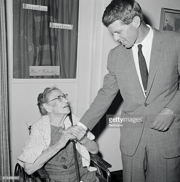 Democratic Senatorial candidate Robert F Kennedy is warmly welcomed to the Mary Manning Nursing Home here by Clara Jenkins 91 The residents of the...