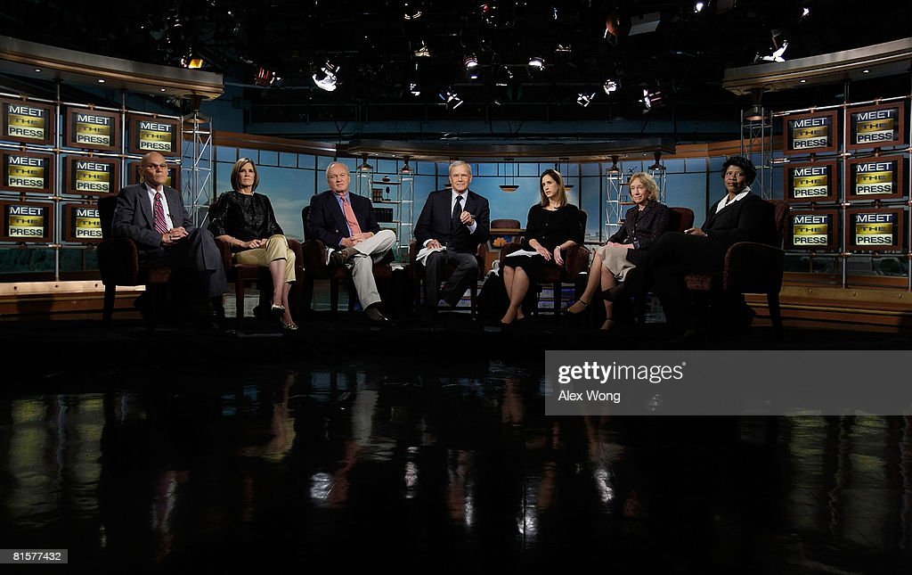 Democratic strategist James Carville, Carville's wife and Republican strategist Mary Matalin, Mike Barnicle of MSNBC News, former NBC Nightly News anchor Tom Brokaw, MTP Executive Producer Betsy Fischer, presidential historian Doris Kearns Goodwin, and Gwen Ifill of PBS appear on 'Meet the Press' during a taping in memory of the late moderator Tim Russert June 15, 2008 at the NBC studios in Washington, DC. Russert died June 13, 2008 of a heart attack while at the NBC bureau in Washington at the age of 58.